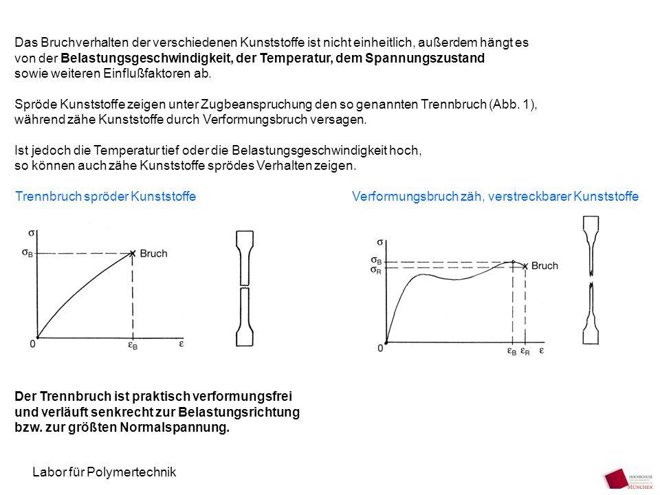 Labor für Polymertechnik Das Bruchverhalten der verschiedenen Kunststoffe ist nicht einheitlich, außerdem hängt es von der Belastungsgeschwindigkeit,