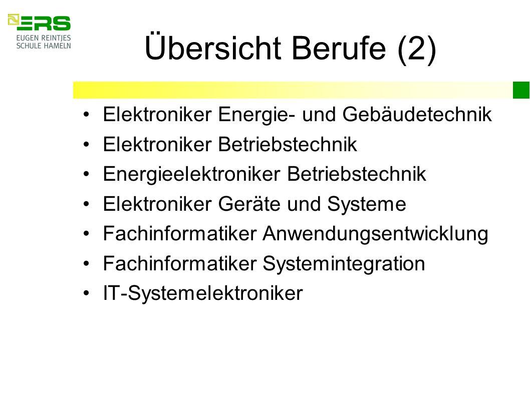 Übersicht Berufe (2) Elektroniker Energie- und Gebäudetechnik Elektroniker Betriebstechnik Energieelektroniker Betriebstechnik Elektroniker Geräte und