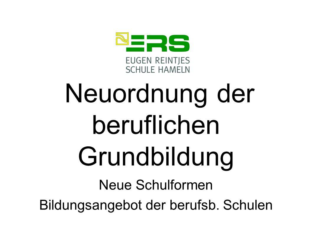 Neuordnung der beruflichen Grundbildung Neue Schulformen Bildungsangebot der berufsb. Schulen