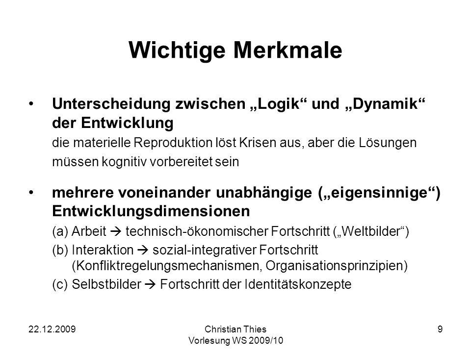 22.12.2009Christian Thies Vorlesung WS 2009/10 10 Die Grundidee Es gibt in einigen Bereichen eine Homologie zwischen der Ontogenese und der Phylogenese.