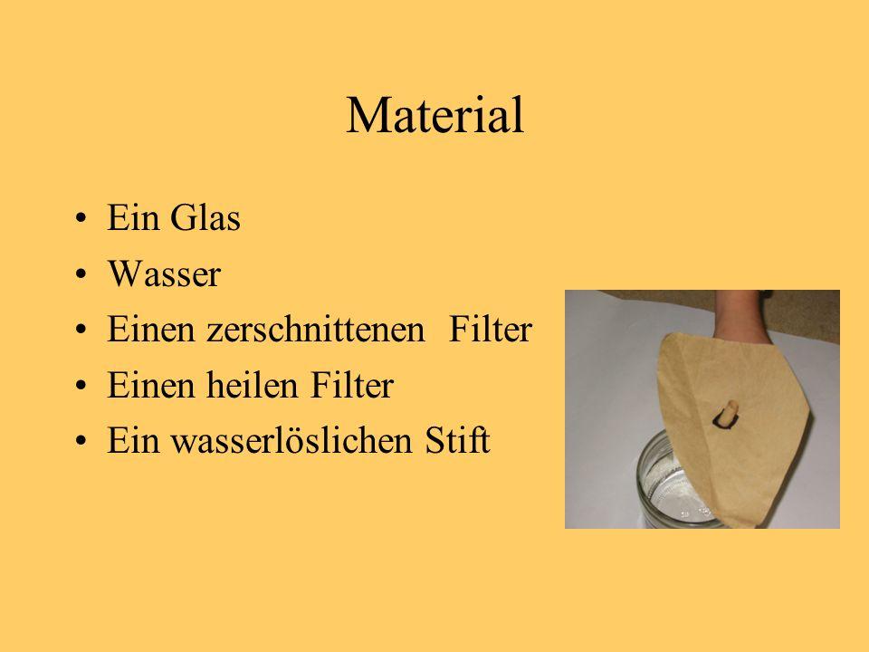 Material Ein Glas Wasser Einen zerschnittenen Filter Einen heilen Filter Ein wasserlöslichen Stift