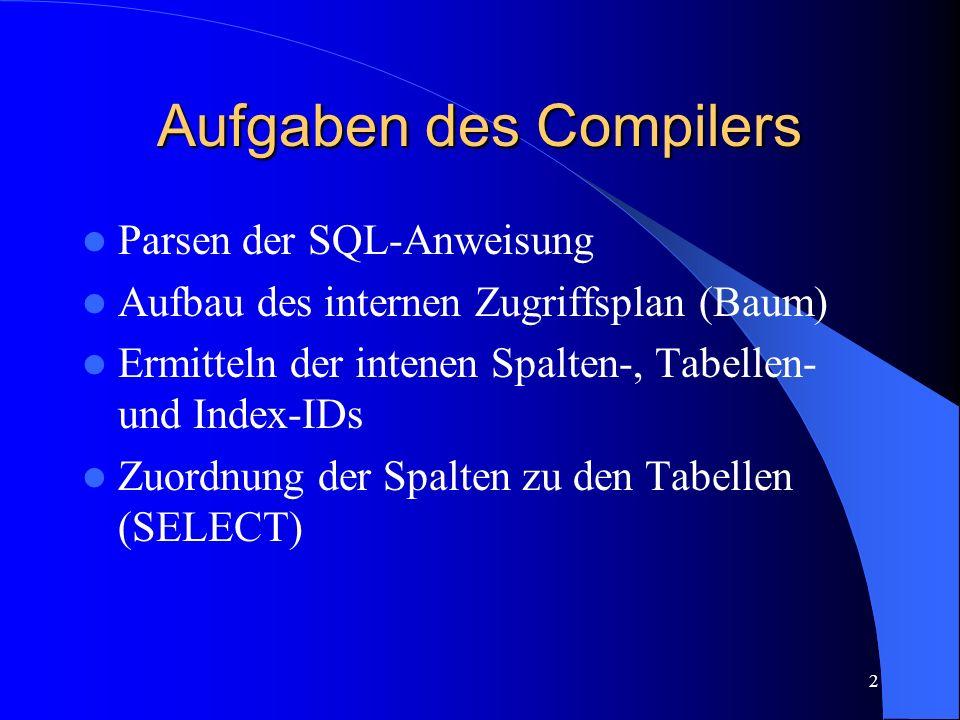 13 Interner Zugriffsplan Kann so von RunTime nicht direkt verarbeitet werden – Wird vom Optimizer noch vereinfacht und umstrukturiert