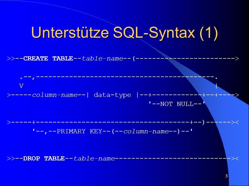 4 Unterstütze SQL-Syntax (2) data-type: |--+--INTEGER----------------+-------------------------| +--INT--------------------+ --VARCHAR--(--length--)-- >>--COMMIT-------------------------------------------->< >>--ROLLBACK------------------------------------------><