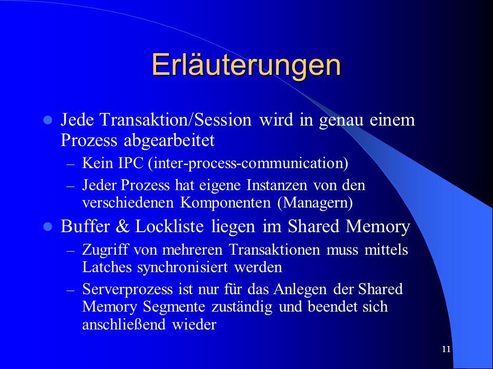 11 Erläuterungen Jede Transaktion/Session wird in genau einem Prozess abgearbeitet – Kein IPC (inter-process-communication) – Jeder Prozess hat eigene Instanzen von den verschiedenen Komponenten (Managern) Buffer & Lockliste liegen im Shared Memory – Zugriff von mehreren Transaktionen muss mittels Latches synchronisiert werden – Serverprozess ist nur für das Anlegen der Shared Memory Segmente zuständig und beendet sich anschließend wieder