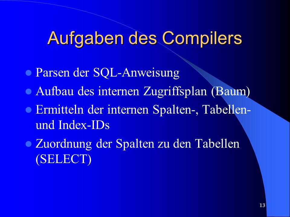 13 Aufgaben des Compilers Parsen der SQL-Anweisung Aufbau des internen Zugriffsplan (Baum) Ermitteln der internen Spalten-, Tabellen- und Index-IDs Zuordnung der Spalten zu den Tabellen (SELECT)