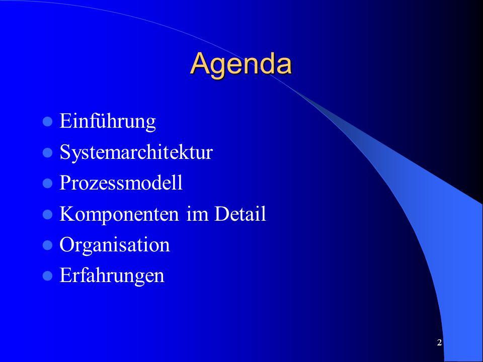 2 Agenda Einführung Systemarchitektur Prozessmodell Komponenten im Detail Organisation Erfahrungen