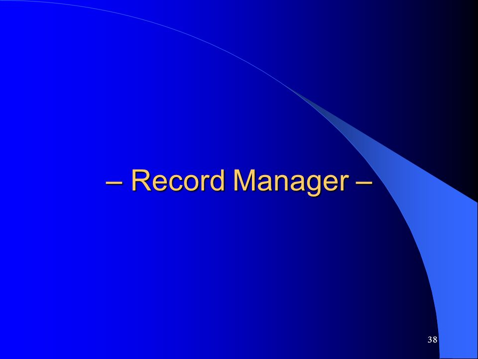 38 – Record Manager –
