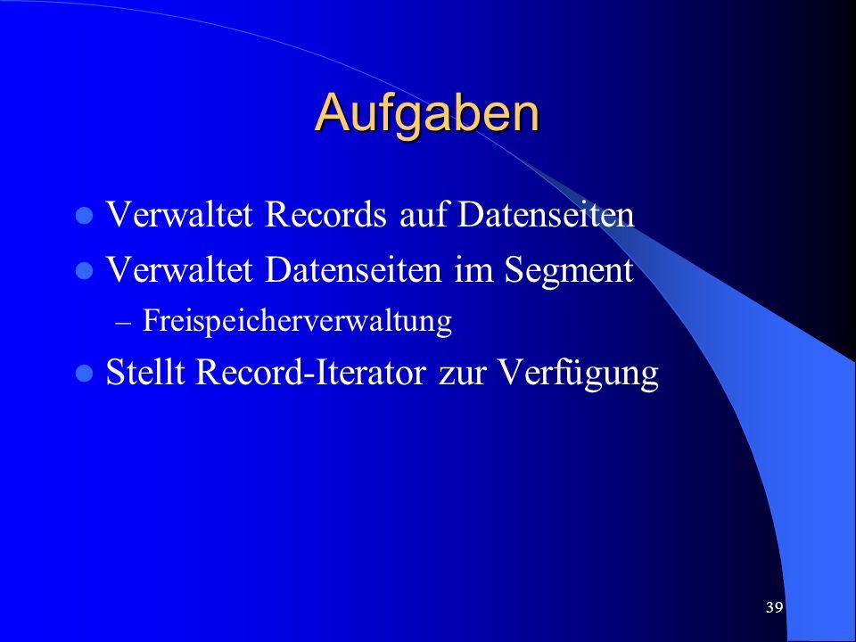 39 Aufgaben Verwaltet Records auf Datenseiten Verwaltet Datenseiten im Segment – Freispeicherverwaltung Stellt Record-Iterator zur Verfügung