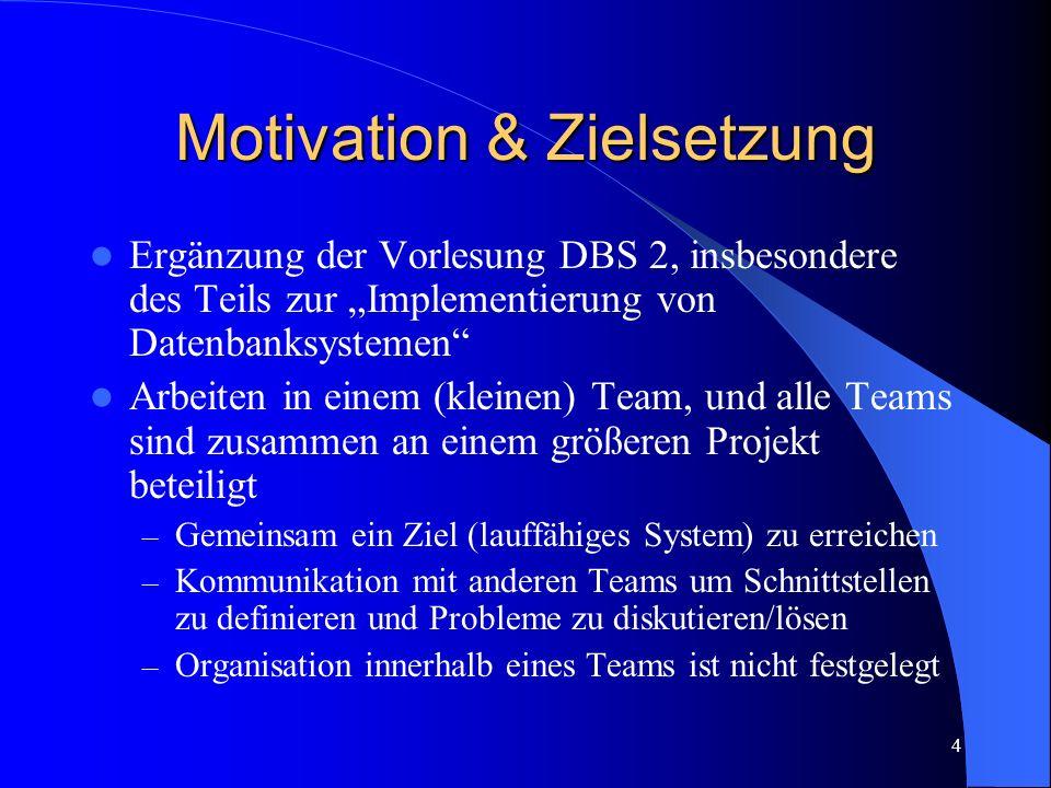 4 Motivation & Zielsetzung Ergänzung der Vorlesung DBS 2, insbesondere des Teils zur Implementierung von Datenbanksystemen Arbeiten in einem (kleinen) Team, und alle Teams sind zusammen an einem größeren Projekt beteiligt – Gemeinsam ein Ziel (lauffähiges System) zu erreichen – Kommunikation mit anderen Teams um Schnittstellen zu definieren und Probleme zu diskutieren/lösen – Organisation innerhalb eines Teams ist nicht festgelegt