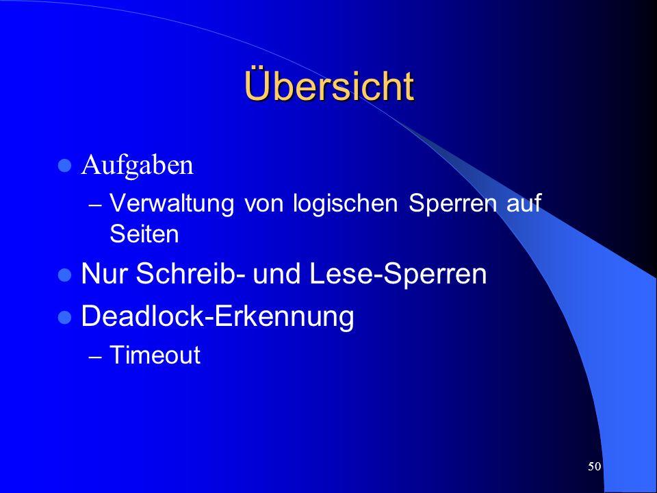 50 Übersicht Aufgaben – Verwaltung von logischen Sperren auf Seiten Nur Schreib- und Lese-Sperren Deadlock-Erkennung – Timeout