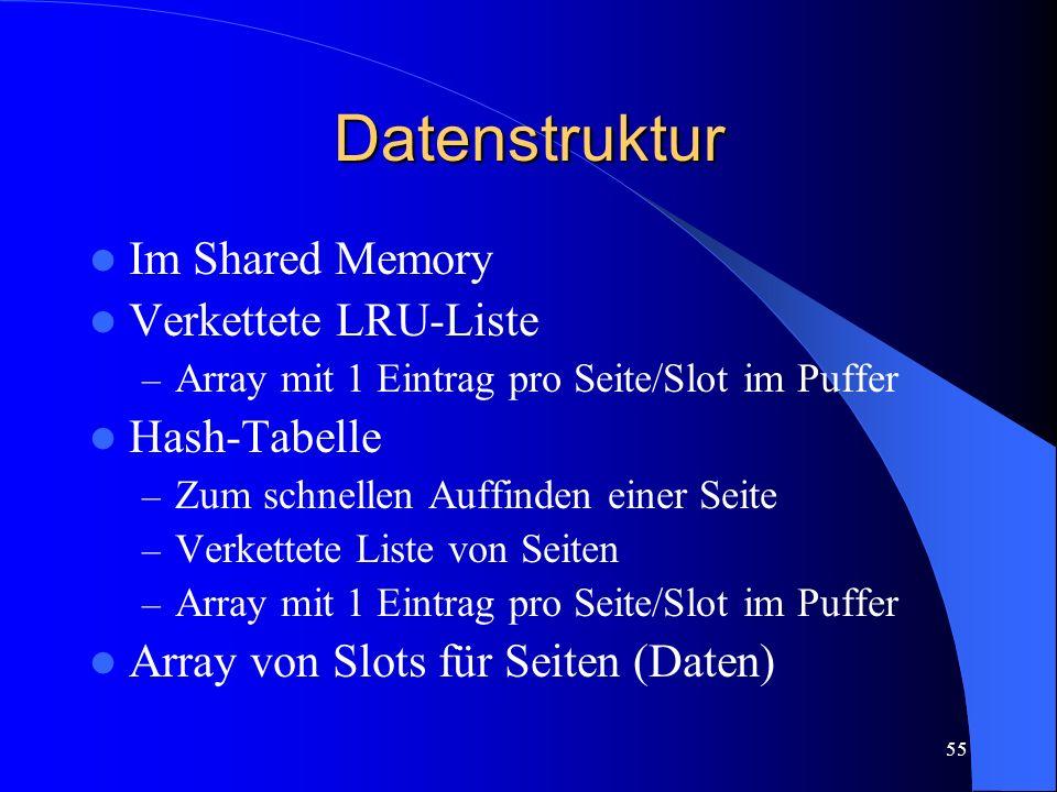 55 Datenstruktur Im Shared Memory Verkettete LRU-Liste – Array mit 1 Eintrag pro Seite/Slot im Puffer Hash-Tabelle – Zum schnellen Auffinden einer Seite – Verkettete Liste von Seiten – Array mit 1 Eintrag pro Seite/Slot im Puffer Array von Slots für Seiten (Daten)