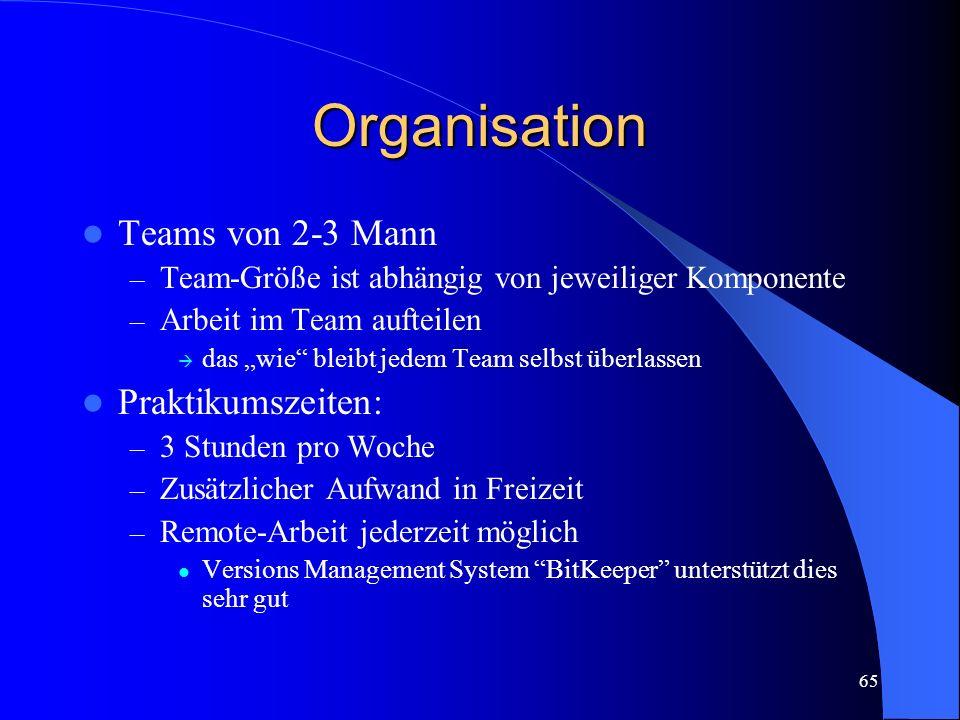 65 Organisation Teams von 2-3 Mann – Team-Größe ist abhängig von jeweiliger Komponente – Arbeit im Team aufteilen das wie bleibt jedem Team selbst überlassen Praktikumszeiten: – 3 Stunden pro Woche – Zusätzlicher Aufwand in Freizeit – Remote-Arbeit jederzeit möglich Versions Management System BitKeeper unterstützt dies sehr gut