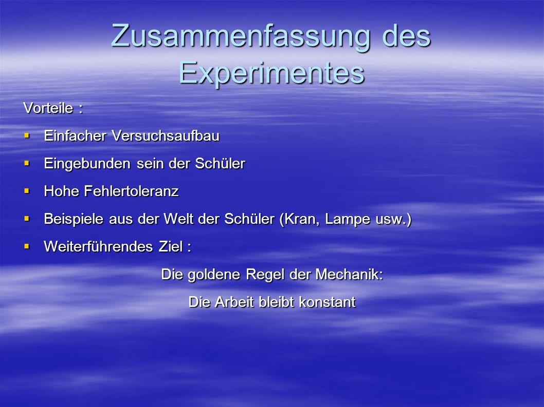 Zusammenfassung des Experimentes Vorteile : Einfacher Versuchsaufbau Einfacher Versuchsaufbau Eingebunden sein der Schüler Eingebunden sein der Schüle