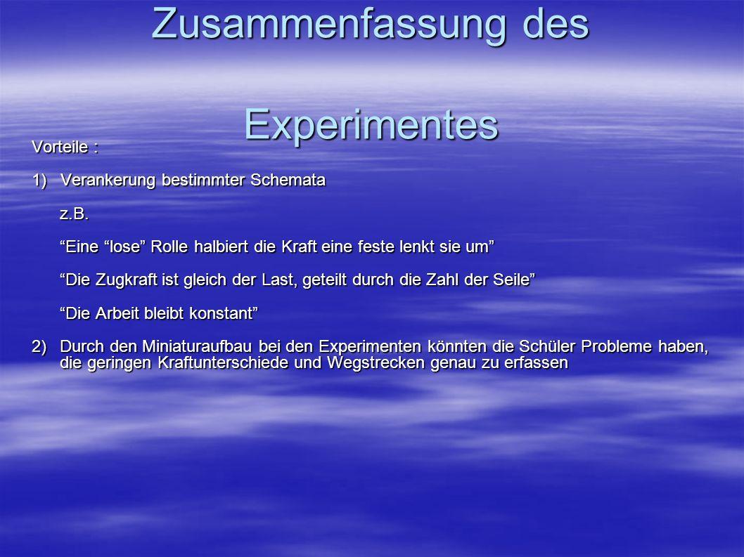 Zusammenfassung des Experimentes Vorteile : 1) Verankerung bestimmter Schemata z.B. Eine lose Rolle halbiert die Kraft eine feste lenkt sie um Die Zug