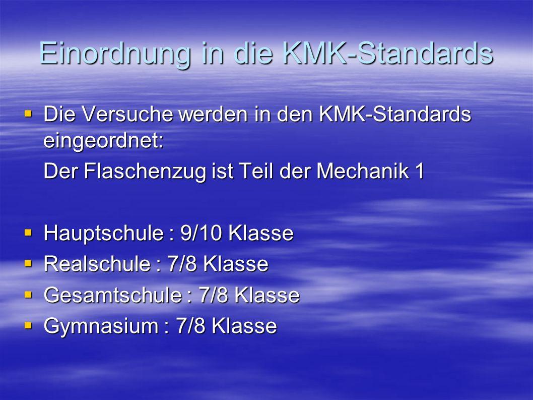 Einordnung in die KMK-Standards Die Versuche werden in den KMK-Standards eingeordnet: Die Versuche werden in den KMK-Standards eingeordnet: Der Flasch