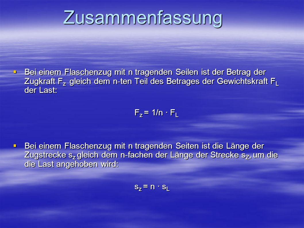 Zusammenfassung Bei einem Flaschenzug sind die Länge der Zugstrecke s Z und der Betrag der Zugkraft F Z antiproportional zueinander: Bei einem Flaschenzug sind die Länge der Zugstrecke s Z und der Betrag der Zugkraft F Z antiproportional zueinander: s Z = p/F Z mit p = F L · s L, d.h.