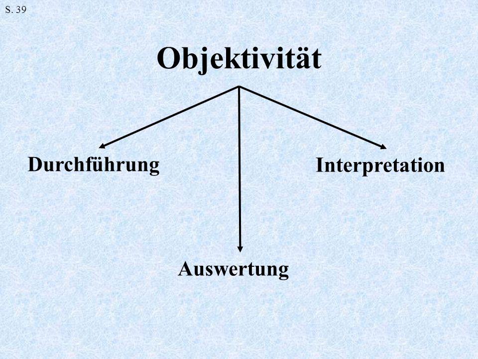 Objektivität S. 39 Durchführung Auswertung Interpretation