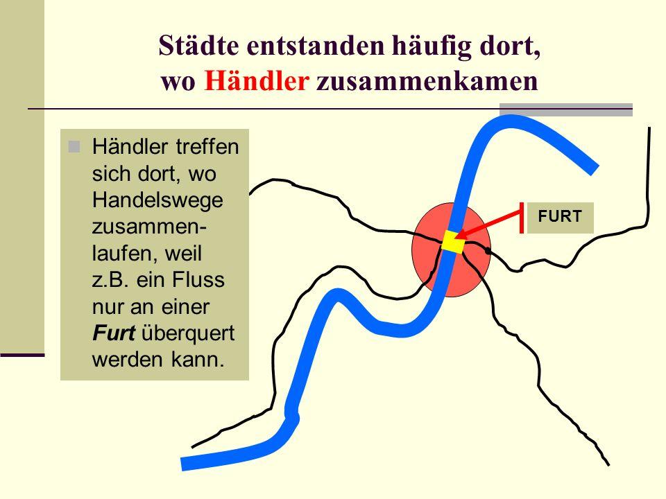 Städte entstanden häufig dort, wo Händler zusammenkamen Händler treffen sich dort, wo Handelswege zusammen- laufen, weil z.B. ein Fluss nur an einer F