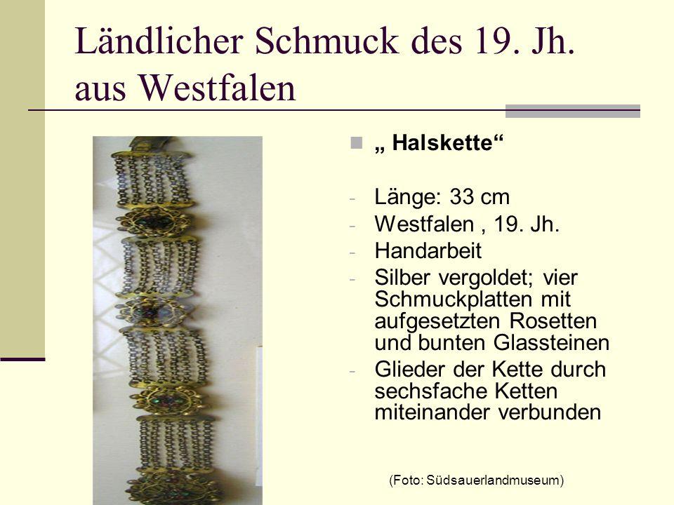 Ländlicher Schmuck des 19. Jh. aus Westfalen Halskette - Länge: 33 cm - Westfalen, 19. Jh. - Handarbeit - Silber vergoldet; vier Schmuckplatten mit au