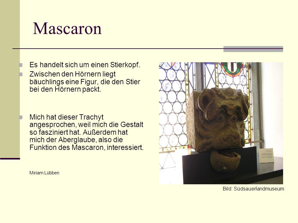 Mascaron Es handelt sich um einen Stierkopf. Zwischen den Hörnern liegt bäuchlings eine Figur, die den Stier bei den Hörnern packt. Mich hat dieser Tr