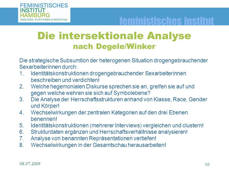 feministisches institut Die strategische Subsumtion der heterogenen Situation drogengebrauchender Sexarbeiterinnen durch: 1.Identitätskonstruktionen d