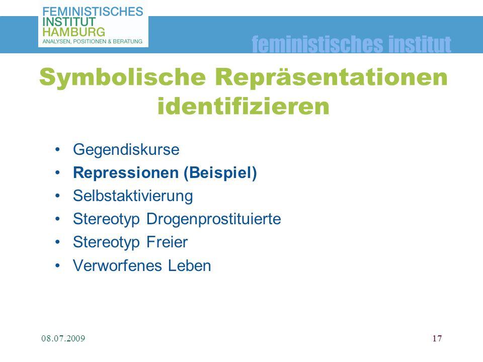 feministisches institut 08.07.200917 Symbolische Repräsentationen identifizieren Gegendiskurse Repressionen (Beispiel) Selbstaktivierung Stereotyp Dro