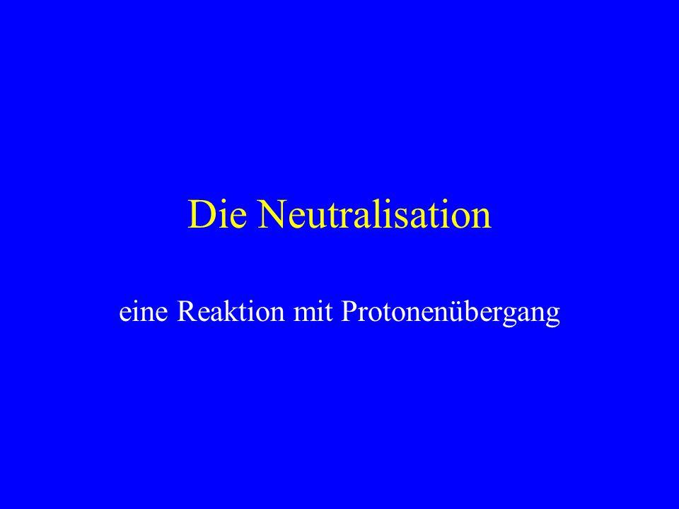 Die Neutralisation eine Reaktion mit Protonenübergang