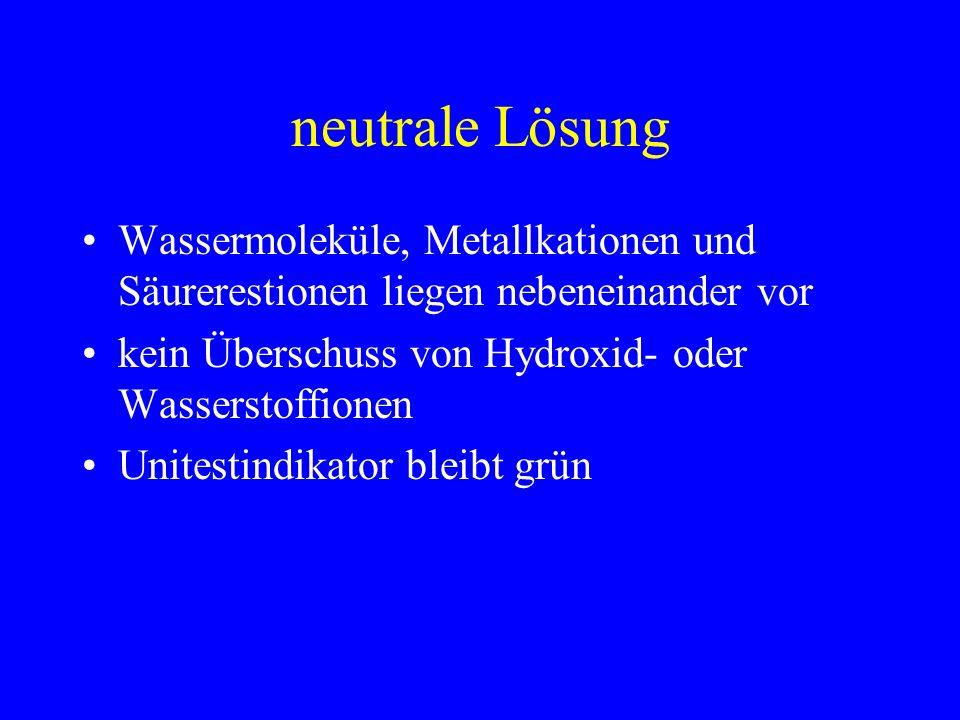 neutrale Lösung Wassermoleküle, Metallkationen und Säurerestionen liegen nebeneinander vor kein Überschuss von Hydroxid- oder Wasserstoffionen Unitest