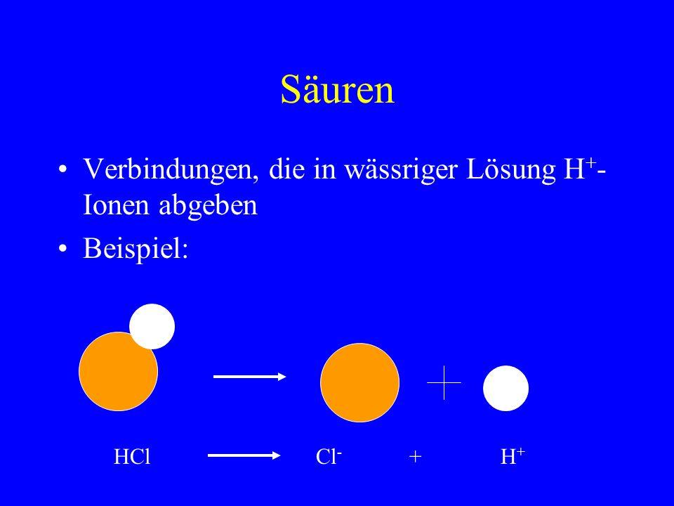 Säuren Verbindungen, die in wässriger Lösung H + - Ionen abgeben Beispiel: HClCl - + H +