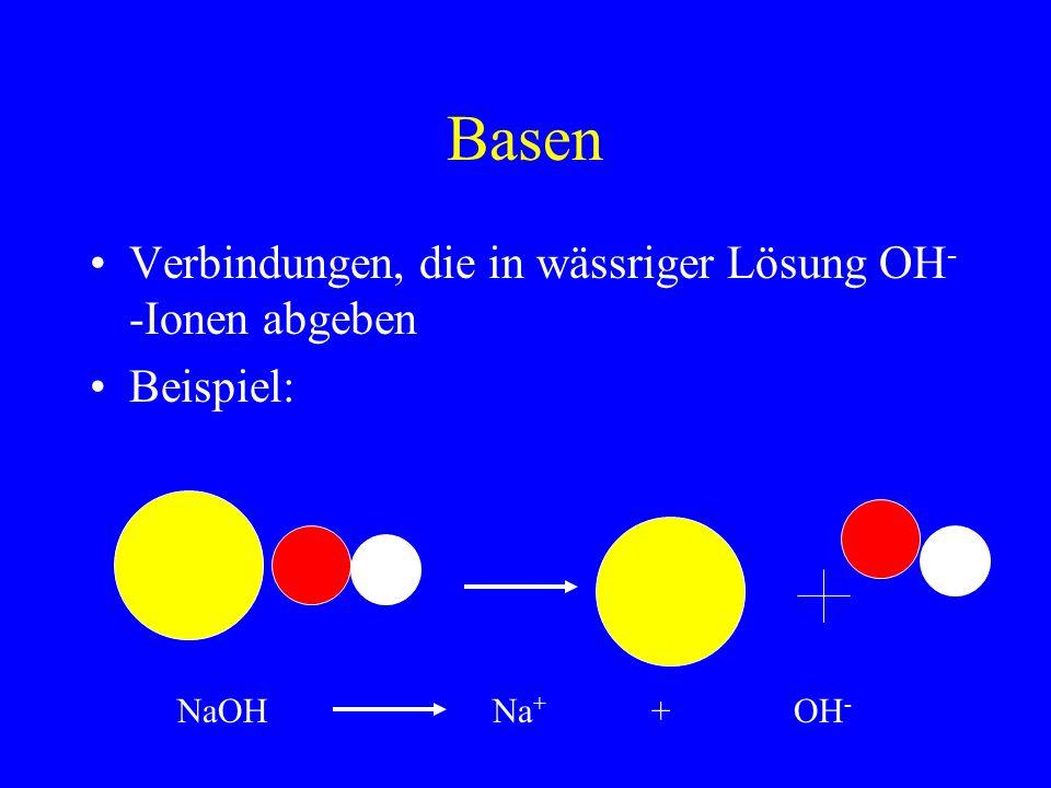 Basen Verbindungen, die in wässriger Lösung OH - -Ionen abgeben Beispiel: NaOHNa + + OH -