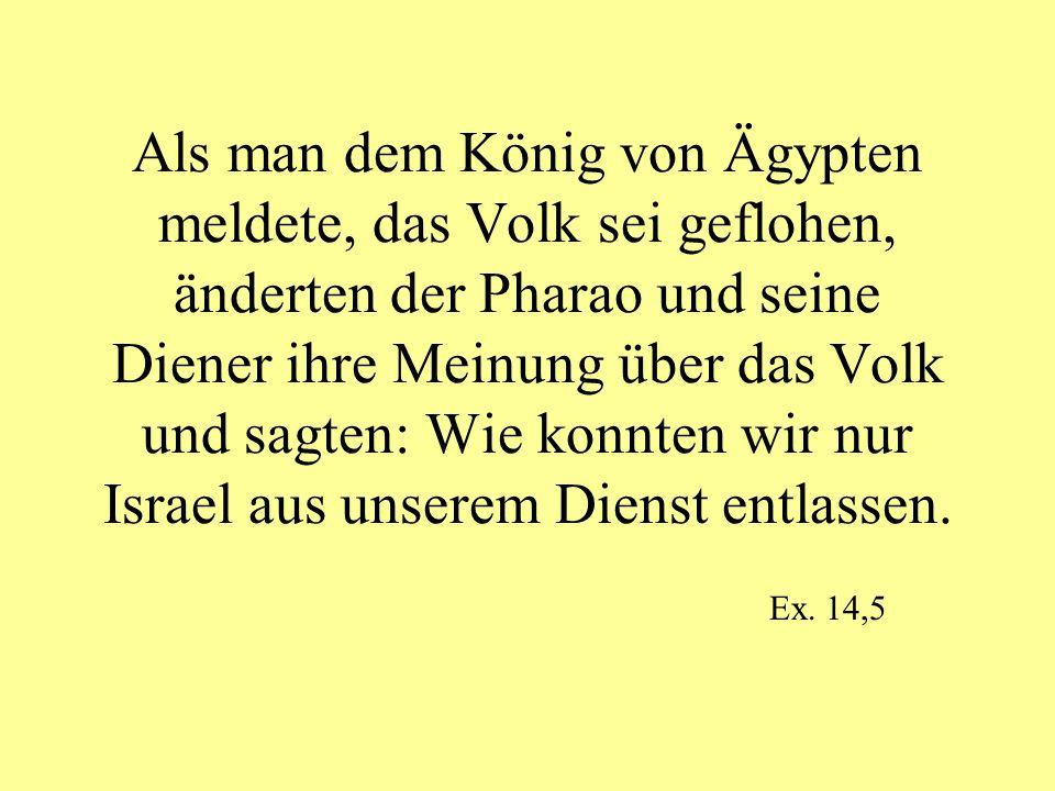 Als man dem König von Ägypten meldete, das Volk sei geflohen, änderten der Pharao und seine Diener ihre Meinung über das Volk und sagten: Wie konnten