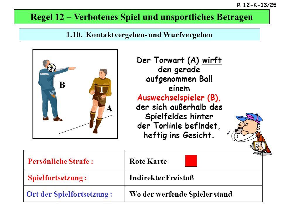 Regel 12 – Verbotenes Spiel und unsportliches Betragen Der Torwart (A) wirft den gerade aufgenommen Ball einem Auswechselspieler (B), der sich außerhalb des Spielfeldes hinter der Torlinie befindet, heftig ins Gesicht.