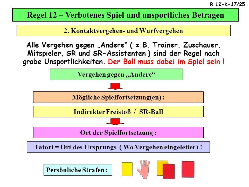 Regel 12 – Verbotenes Spiel und unsportliches Betragen Alle Vergehen gegen Andere ( z.B.