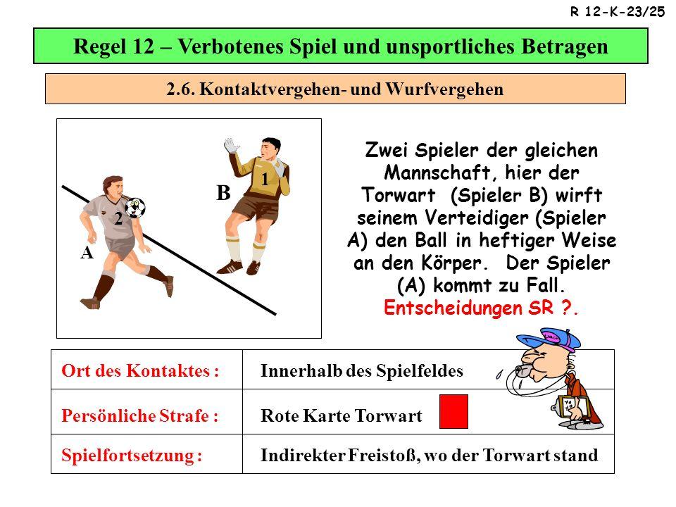 2.6. Kontaktvergehen- und Wurfvergehen Regel 12 – Verbotenes Spiel und unsportliches Betragen Zwei Spieler der gleichen Mannschaft, hier der Torwart (