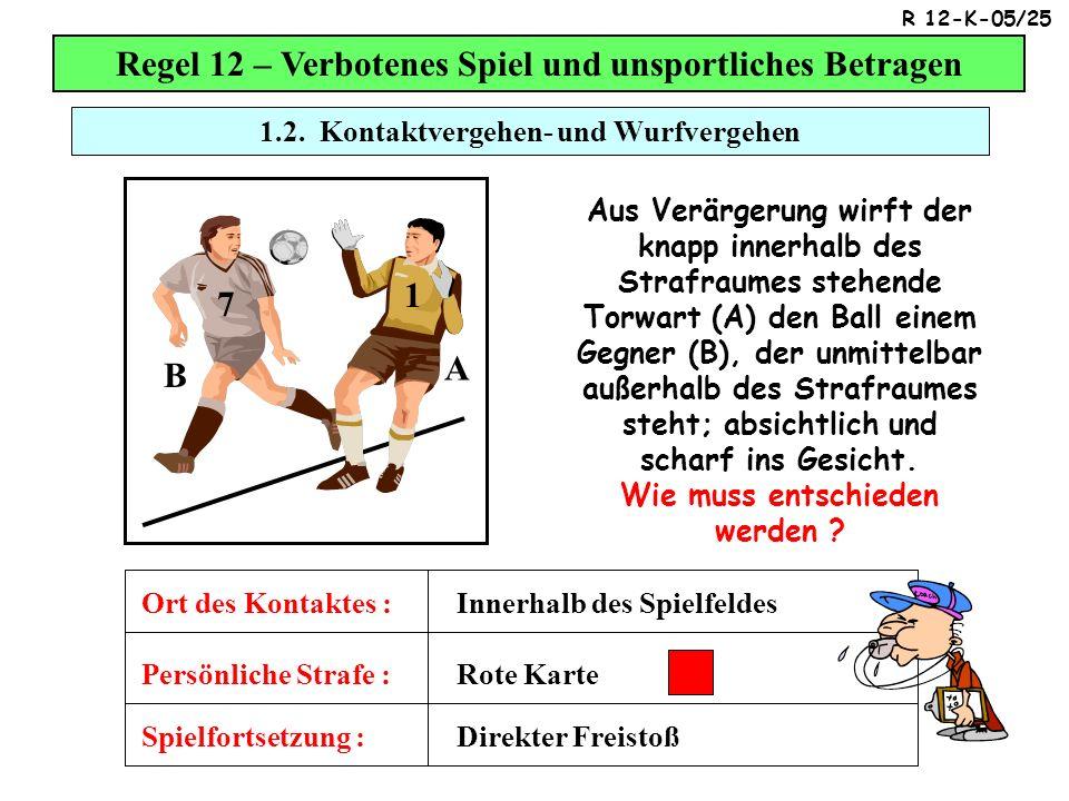 1.2. Kontaktvergehen- und Wurfvergehen Regel 12 – Verbotenes Spiel und unsportliches Betragen Aus Verärgerung wirft der knapp innerhalb des Strafraume