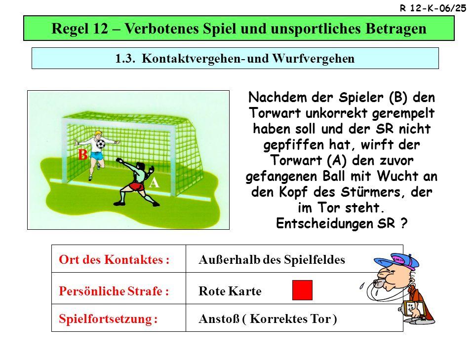 1.3. Kontaktvergehen- und Wurfvergehen Regel 12 – Verbotenes Spiel und unsportliches Betragen Nachdem der Spieler (B) den Torwart unkorrekt gerempelt