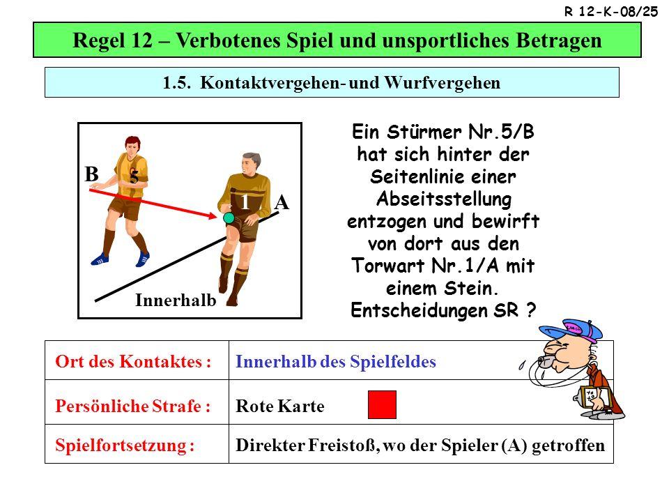 1.5. Kontaktvergehen- und Wurfvergehen Regel 12 – Verbotenes Spiel und unsportliches Betragen Spielfortsetzung : Persönliche Strafe : Ort des Kontakte