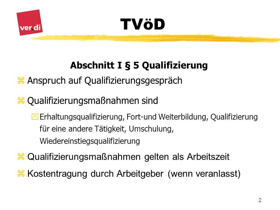 TVöD 2 Abschnitt I § 5 Qualifizierung zAnspruch auf Qualifizierungsgespräch zQualifizierungsmaßnahmen sind yErhaltungsqualifizierung, Fort-und Weiterb