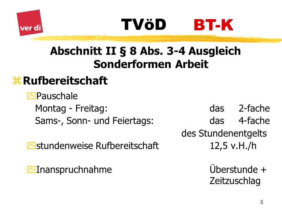 TVöD 9 Abschnitt II § 8 Abs.