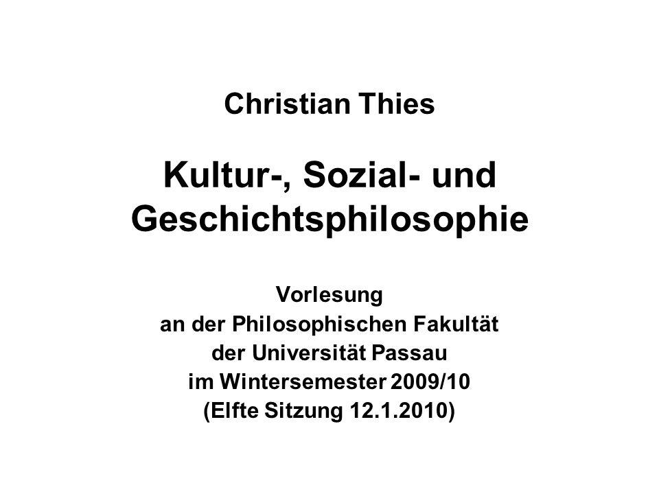 12.1.2010Christian Thies Vorlesung WS 2009/10 2 Ankündigung Donnerstag, 21.1.2010, 19:00 Uhr s.t.