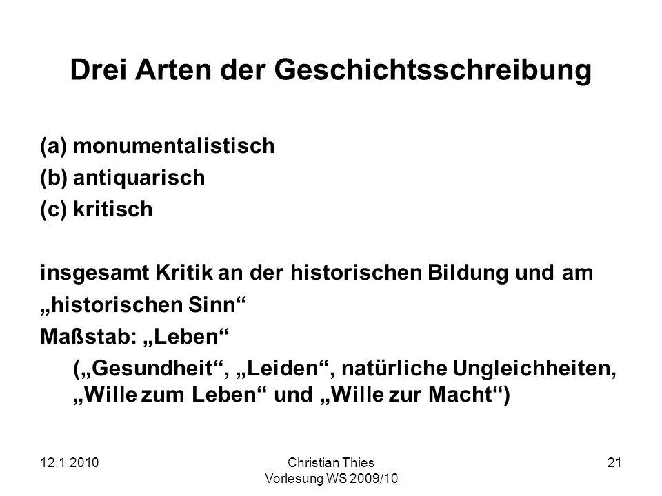 12.1.2010Christian Thies Vorlesung WS 2009/10 21 Drei Arten der Geschichtsschreibung (a)monumentalistisch (b)antiquarisch (c)kritisch insgesamt Kritik