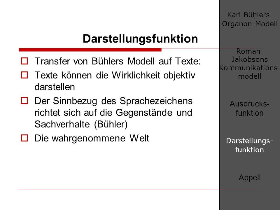 Darstellungsfunktion Transfer von Bühlers Modell auf Texte: Texte können die Wirklichkeit objektiv darstellen Der Sinnbezug des Sprachezeichens richte