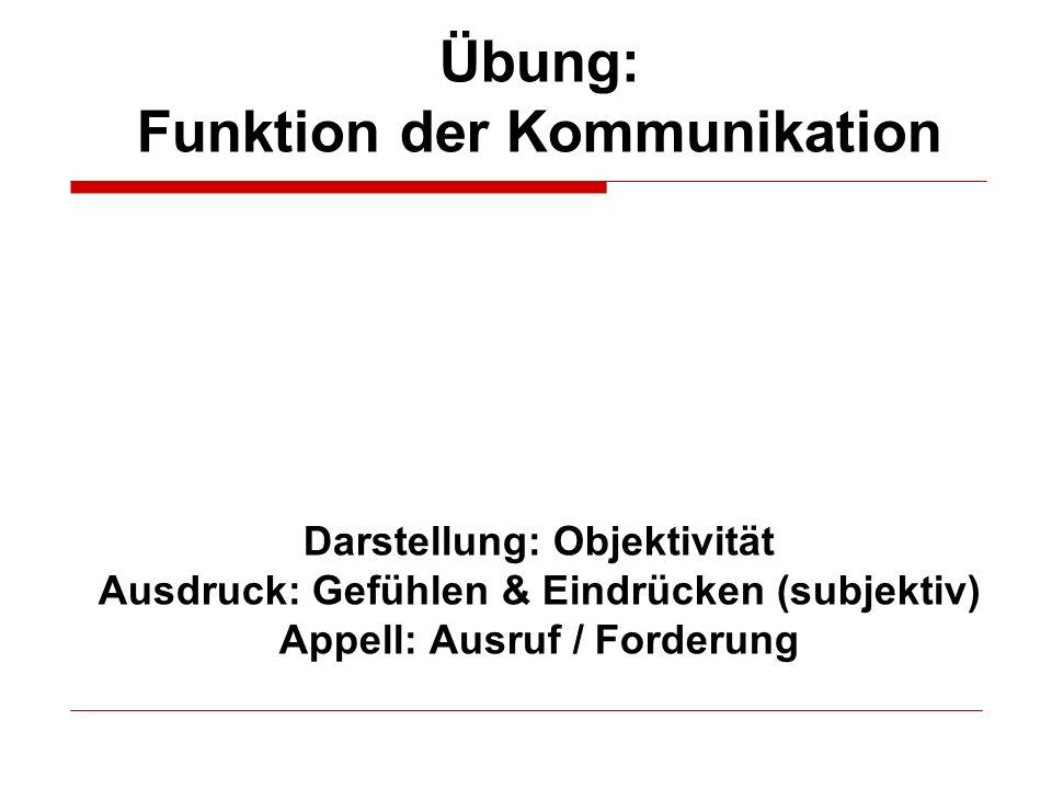 Übung: Funktion der Kommunikation Darstellung: Objektivität Ausdruck: Gefühlen & Eindrücken (subjektiv) Appell: Ausruf / Forderung
