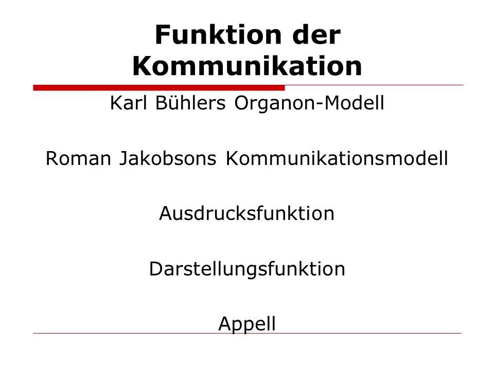 Karl Bühlers Organon-Modell Roman Jakobsons Kommunikationsmodell Ausdrucksfunktion Darstellungsfunktion Appell Funktion der Kommunikation