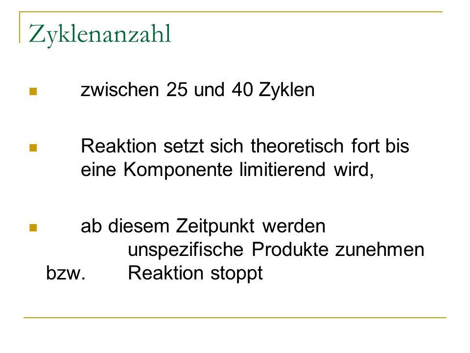 Zyklenanzahl zwischen 25 und 40 Zyklen Reaktion setzt sich theoretisch fort bis eine Komponente limitierend wird, ab diesem Zeitpunkt werden unspezifi