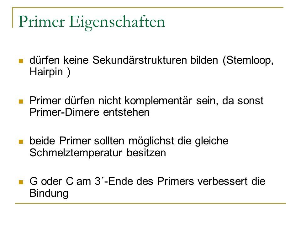 Primer Eigenschaften dürfen keine Sekundärstrukturen bilden (Stemloop, Hairpin ) Primer dürfen nicht komplementär sein, da sonst Primer-Dimere entsteh