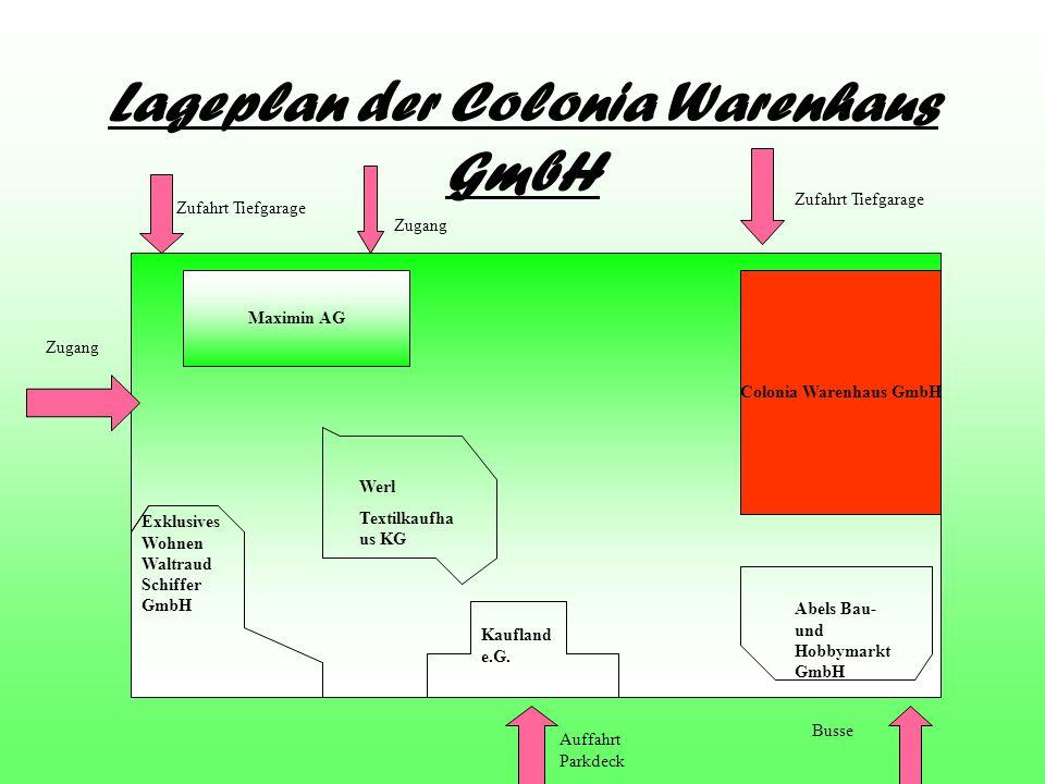 Lageplan der Colonia Warenhaus GmbH Colonia Warenhaus GmbH Maximin AG Exklusives Wohnen Waltraud Schiffer GmbH Werl Textilkaufha us KG Kaufland e.G. A