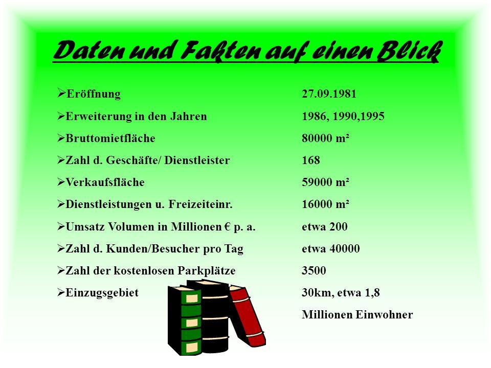Daten und Fakten auf einen Blick Eröffnung27.09.1981 Erweiterung in den Jahren1986, 1990,1995 Bruttomietfläche80000 m² Zahl d. Geschäfte/ Dienstleiste