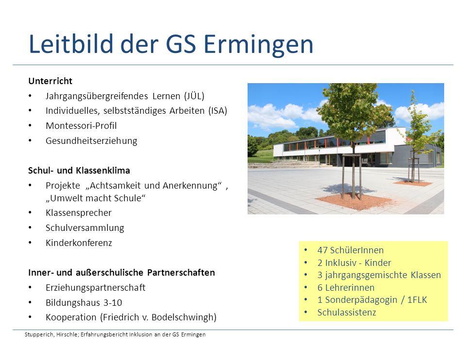 Leitbild der GS Ermingen Unterricht Jahrgangsübergreifendes Lernen (JÜL) Individuelles, selbstständiges Arbeiten (ISA) Montessori-Profil Gesundheitser