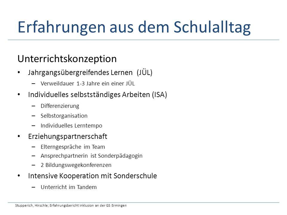 Erfahrungen aus dem Schulalltag Stundenplan Stupperich, Hirschle; Erfahrungsbericht Inklusion an der GS Ermingen